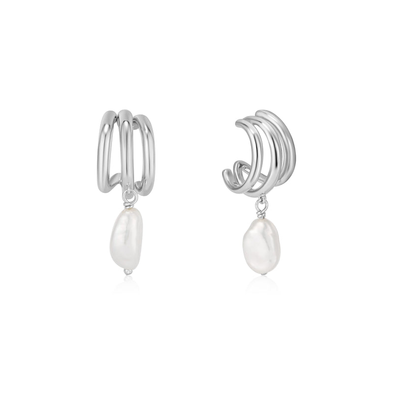 Ania Haie Silver Triple Mini Hoop Earrings