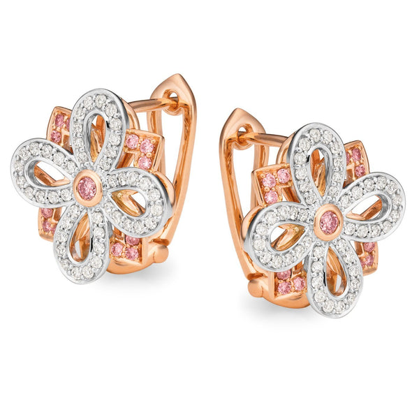 PINK CAVIAR 0.60ct Pink Diamond Earrings in 9ct Rose & White Gold