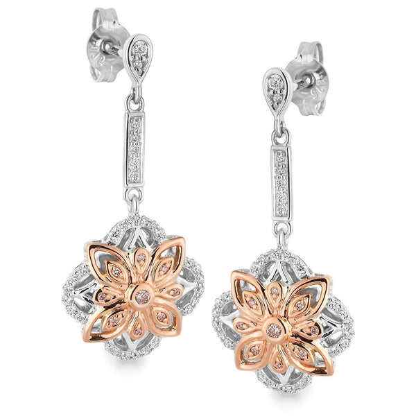 PINK CAVIAR 0.212ct Pink Diamond Earrings in 9ct White & Rose Gold