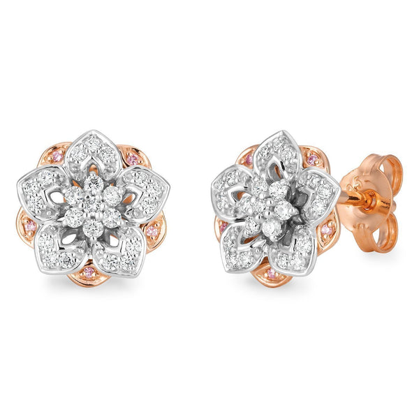 PINK CAVIAR 0.185ct Pink Diamond Earrings in 9ct Rose & White Gold