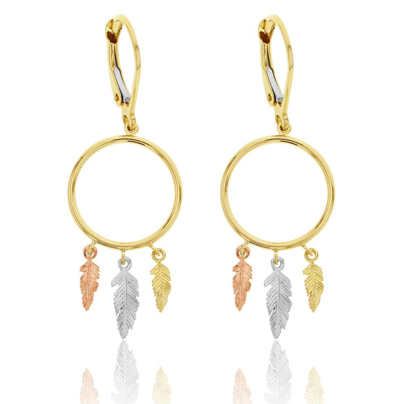 Feather Drop Earrings in 9ct Gold