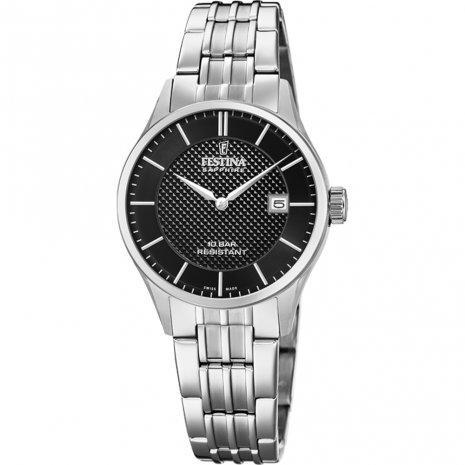 Festina Swiss Black Dial Silver Watch