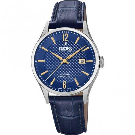 Festina Swiss Blue Leather Watch
