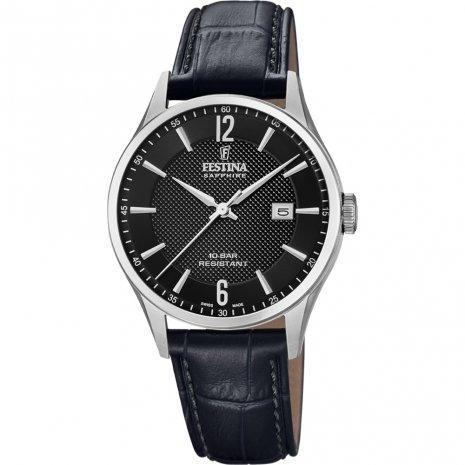 Festina Swiss Black Leather Watch
