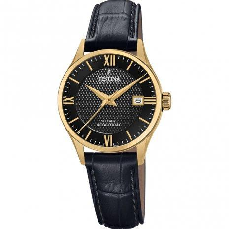 Festina Swiss Gold Case Black Watch