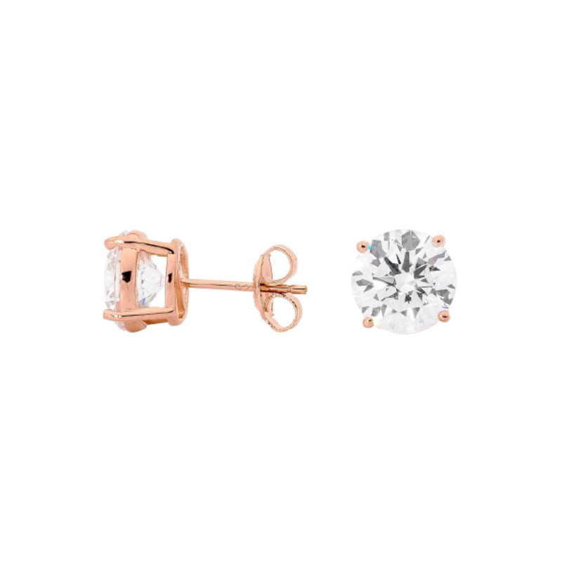 Georgini-Rose Gold Plated Sterling Silver 9mm Cubic Zirconia Stud Earrings