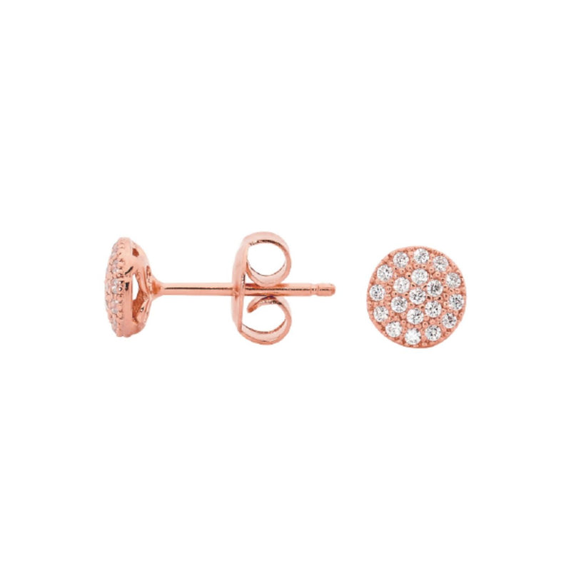 Georgini-Rose Gold Plated Sterling Silver Cubic Zirconia Stud Earrings