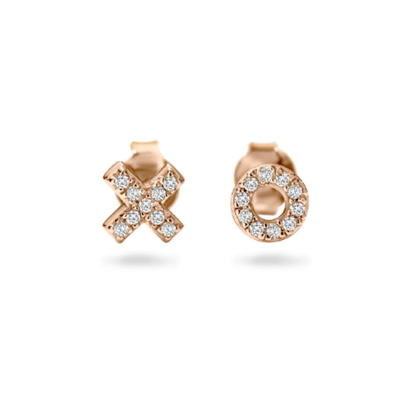 Georgini-Kiss Hug Rose Gold Plated Sterling Silver Cubic Zirconia Stud Earrings
