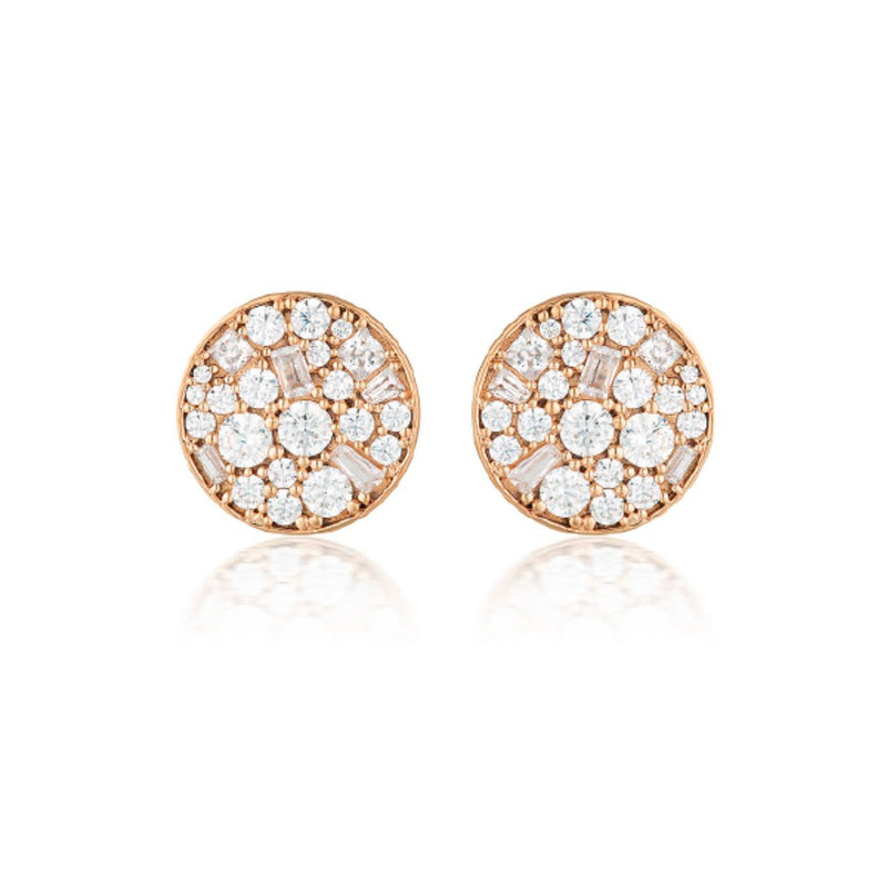 Georgini-Mosaic Disc Rose Gold Plated Sterling Silver Cubic Zirconia Stud Earrings