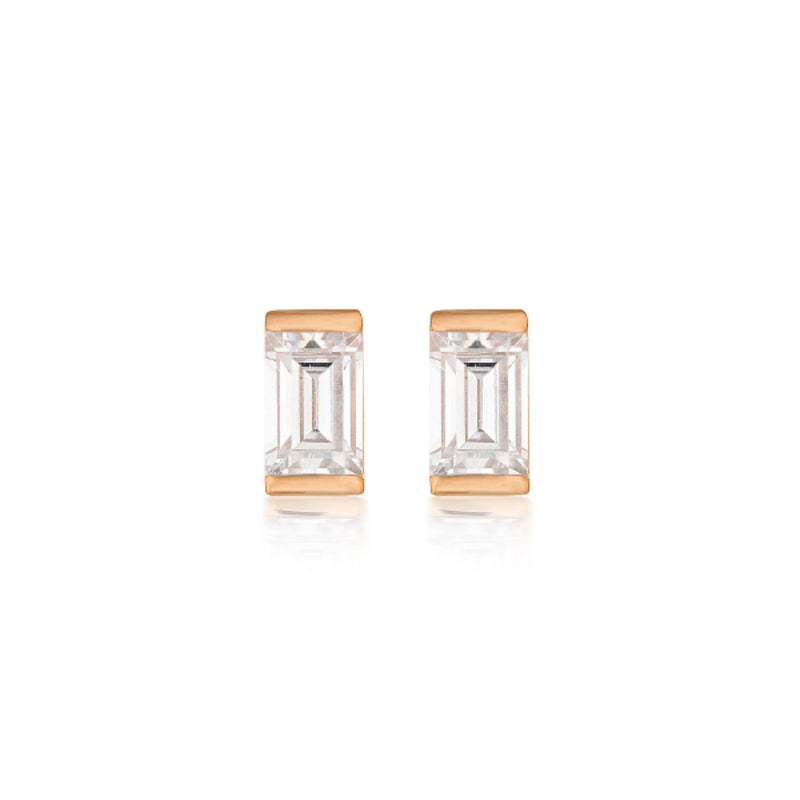 Georgini-Mosaic Baguette Rose Gold Plated Sterling Silver Cubic Zirconia Stud Earrings