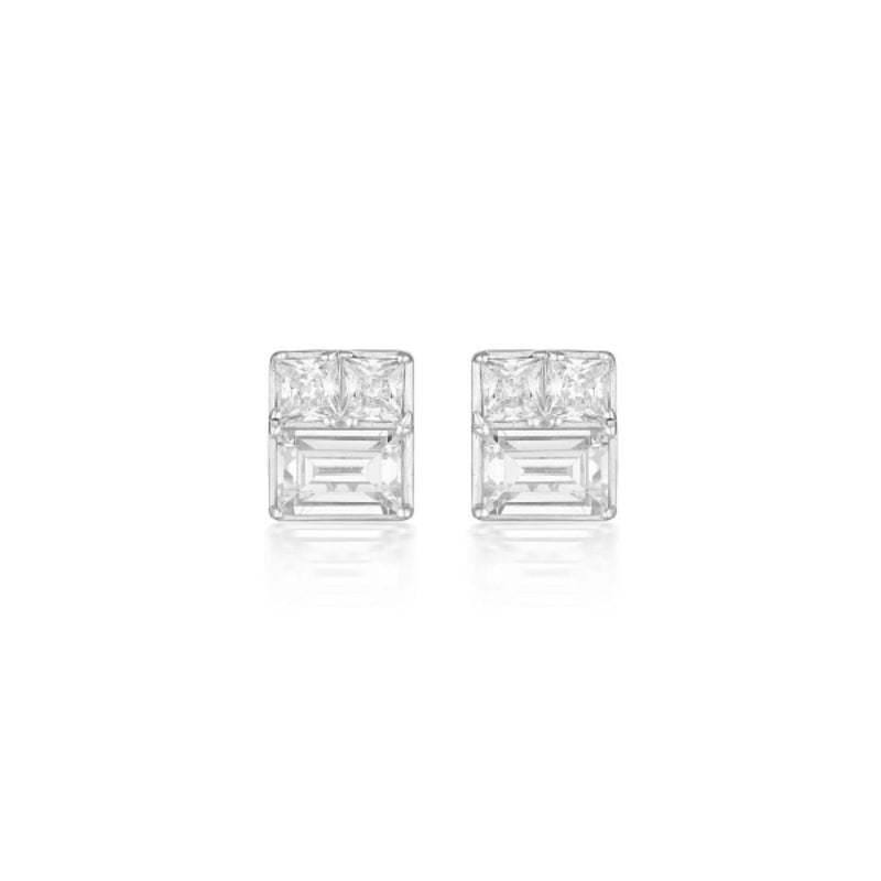 Georgini-Elena Mosaic Sterling Silver Cubic Zirconia Stud Earrings