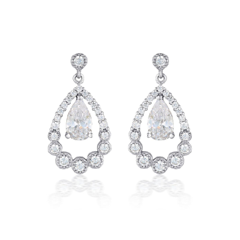Georgini-Chloe Teardrop Sterling Silver Cubic Zirconia Drop Earrings