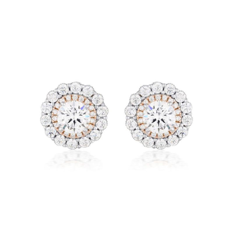 Georgini-Miranna Sterling Silver Cubic Zirconia Double Halo Stud Earrings