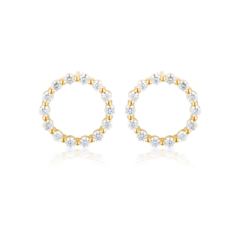 Georgini-Circle Of Life Small Yellow Gold Cubic Zirconia Stud Earrings