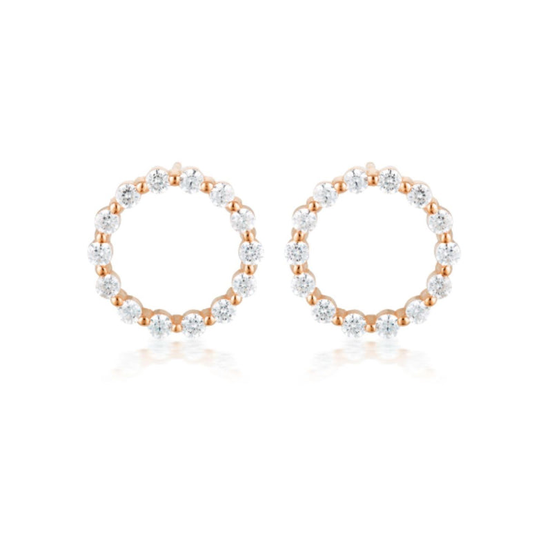 Georgini-Circle Of Life Small Rose Gold Plated Sterling Silver Cubic Zirconia Stud Earrings
