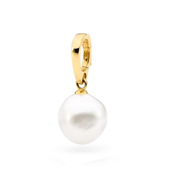 9Ct Yellow Gold White Baroque 12-13Mm Freshwater Pearl Enhancer