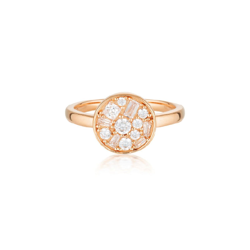 Georgini-Mosaic Disc Rose Gold Cubic Zirconia Ring