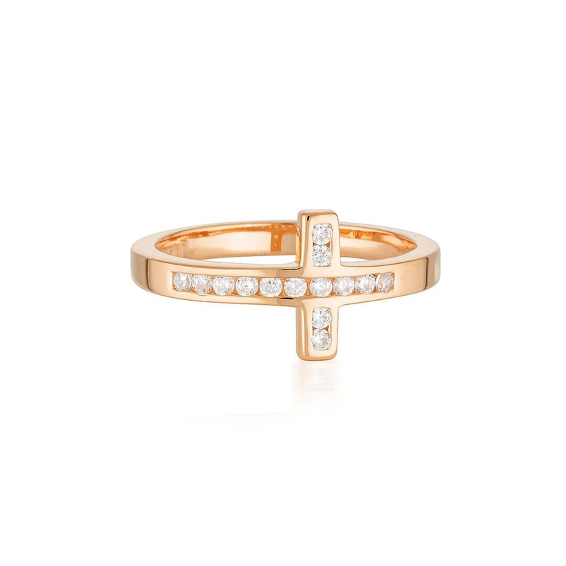 Georgini-Spiritus Wrap Cross Rose Gold Cubic Zirconia Ring