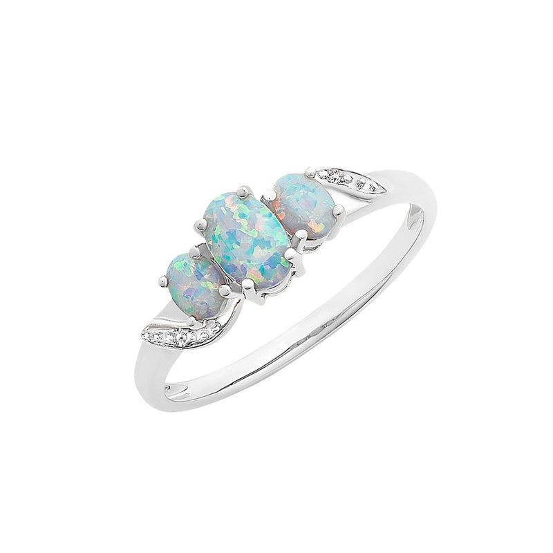 9ct White Gold Created Opal & Diamond Ring