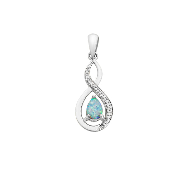 9ct White Gold Created Opal & Diamond Pendant