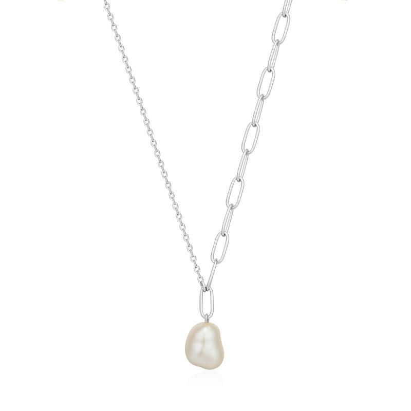 Ania Haie Silver Pearl Chunky Necklace