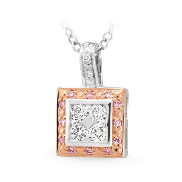PINK CAVIAR 0.235ct Pink Diamond Pendant in 9ct White & Rose Gold