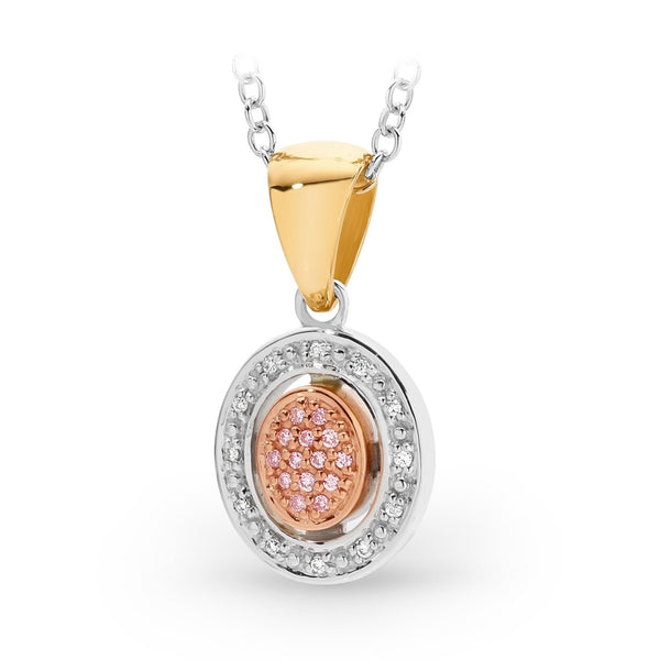 PINK CAVIAR 0.028ct Pink Diamond Pendant in 9ct Yellow White & Rose Gold