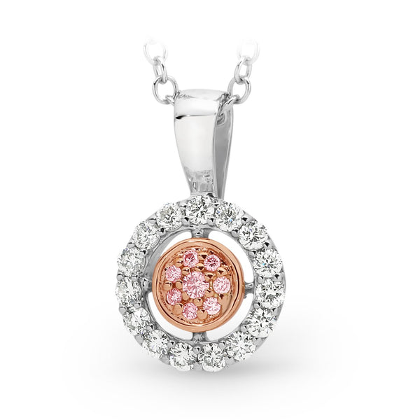 PINK CAVIAR 0.195ct Pink Diamond Pendant in 9ct White & Rose Gold