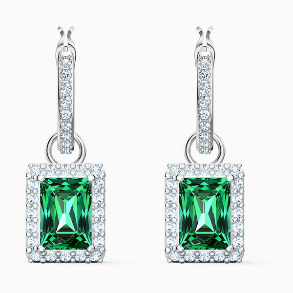 Swarovski Green Angelic Rectangular Pierced Earrings