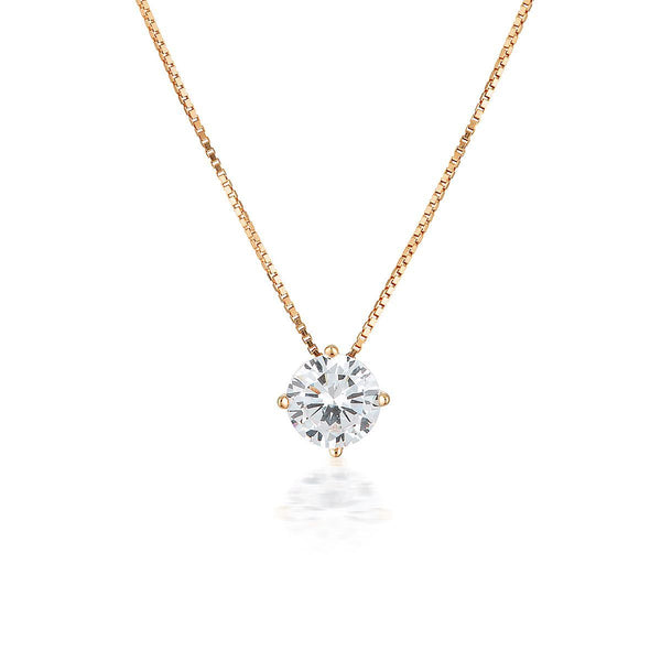 Georgini - 9Ct Rose Gold 6.5 Mm 2Ct Cubic Zirconia Round Pendant