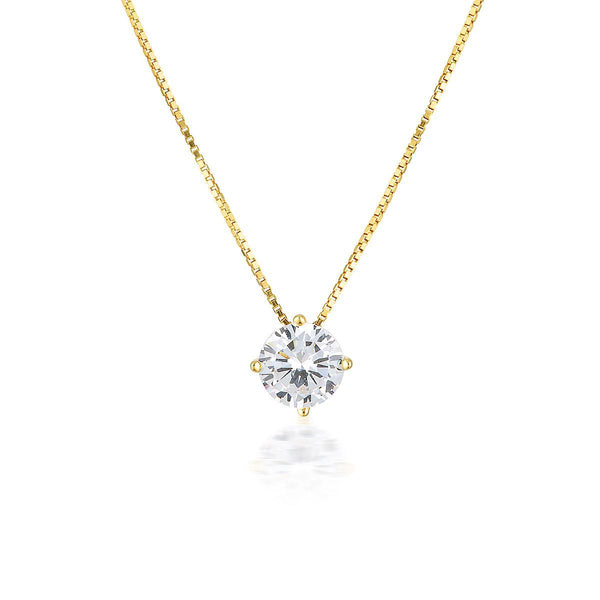 Georgini - 9Ct Yellow Gold 6.5 Mm 2Ct Cubic Zirconia Round Pendant