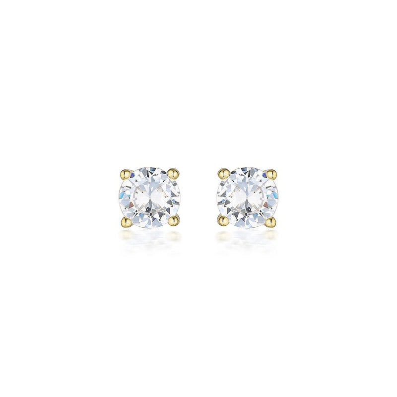 Georgini - 9Ct Yellow Gold 6.5 Mm 2Ct Cubic Zirconia Round Studs Earrings