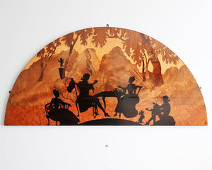 Art Deco marquetry inlaid demi-lune panel