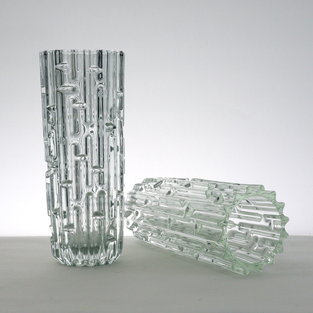 Pair of stunning Sklo Union glass vases