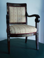 Load image into Gallery viewer, A very solid Mahogany Napoleonic and heavily mounted brass  upholstered armchair.