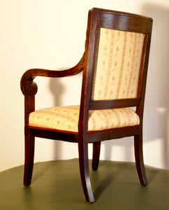 A very solid Mahogany Napoleonic and heavily mounted brass  upholstered armchair.
