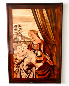 Religious finely inlaid and penwork marquetry panel