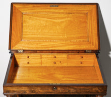 Load image into Gallery viewer, Fine rosewood davenport with birdseye maple interior