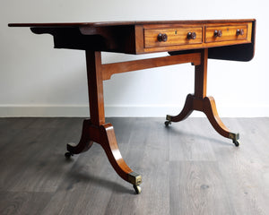 Solid mahogany end support sofa table