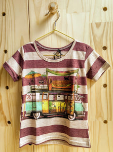 Striped Print Combi T-Shirt