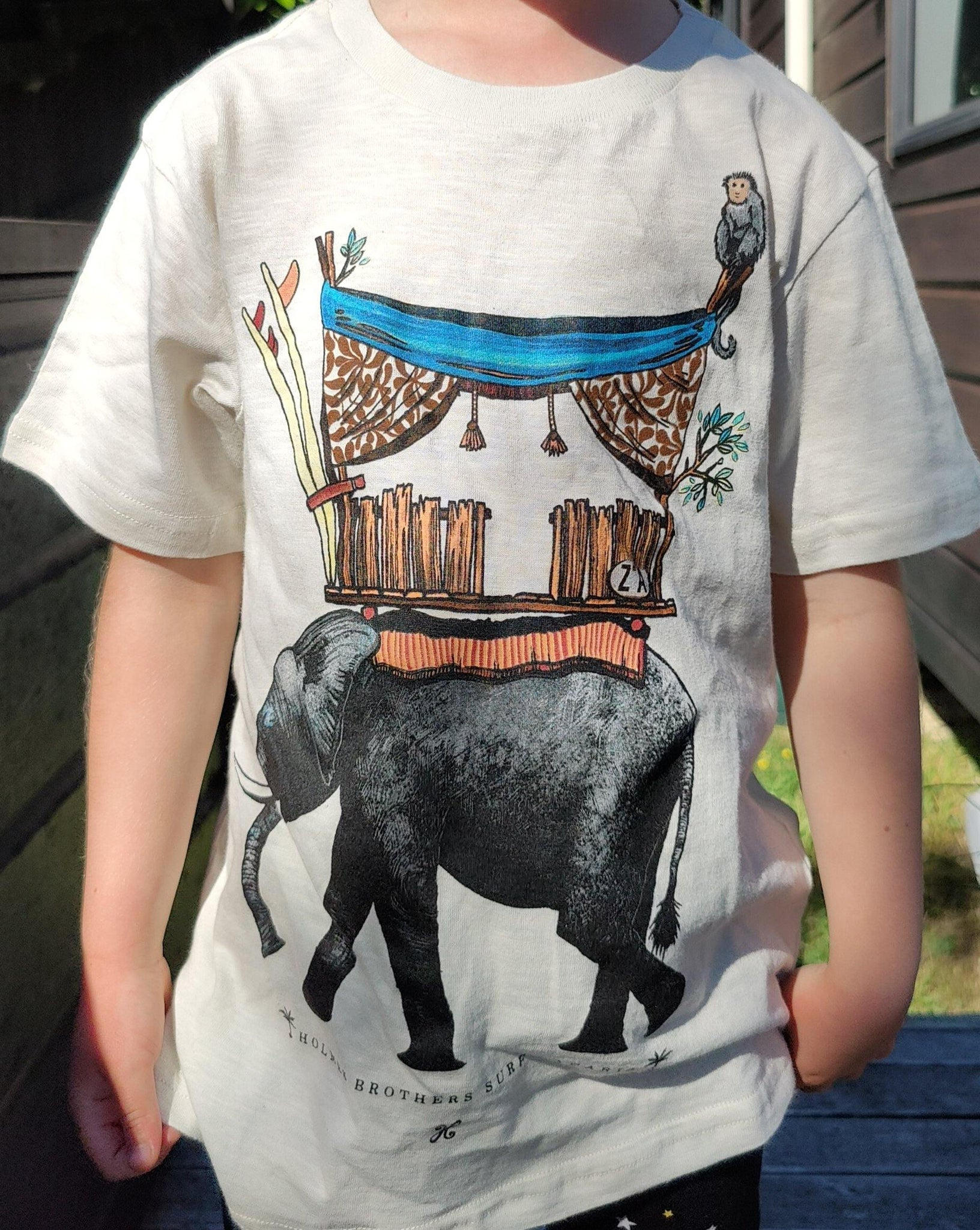 Elephant Surf Safari Kids T-Shirt