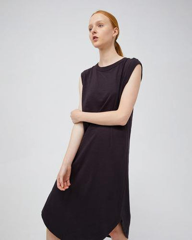 T-Shirt Dress with Hi-Lo Hem - Vintage Black