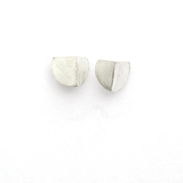 Folded Semi-Circle Earring Studs in Brass or Silver