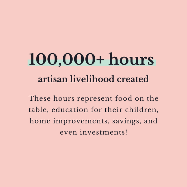 100 000+ hours artisan livelihood created These hours represent food on the table, education for their children, home improvements, savings, and even investments!