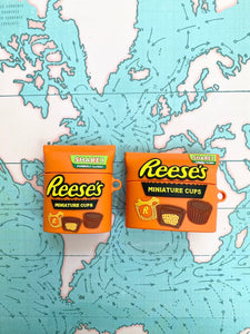 Cute 3D Reese's Chocolate Bar Silicone Airpod Case Gen 1/2 and Pro with Keychain