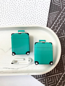 Luxury Teal Luggage Airpod Case Gen 1/2