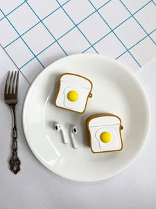 Toast with Eggs 3D Silicone Airpod Case Gen 1/2 with Keychain