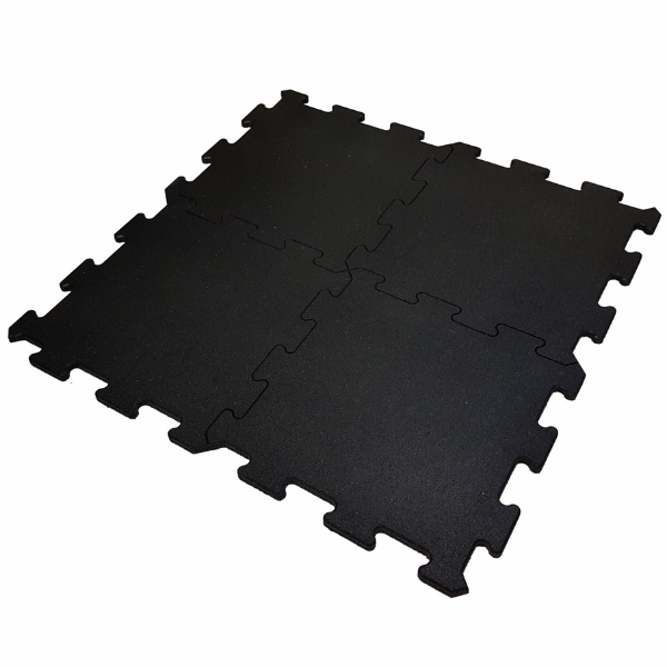 Pavi Black Interlocking 1m x 1m Rubber Tile 20mm Thick