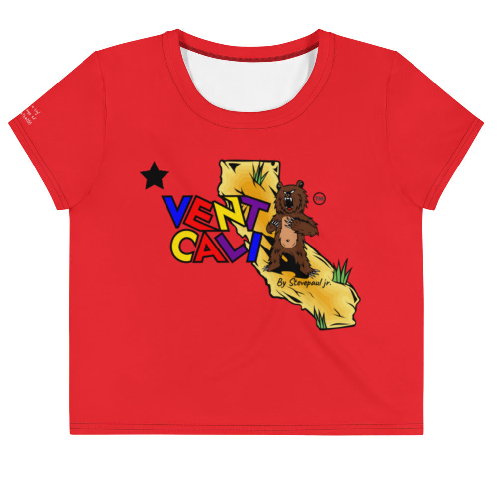 crop top tee shirts, women's cotton tees, cali life shirts, red cotton t-shirt, california t-shirts, crop tops with designs, designer crop tops, cute crop tops