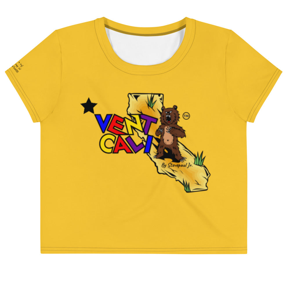 crop top tee shirts, women's cotton tees, cali life shirts, yellow cotton t-shirt, california t-shirts, yellow t-shirts, la t-shirts, designer t-shirts, women crop tops with designs